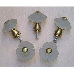 Clear 3-petal Frosted Glass and Satin Brass Knobs (Set of 5)