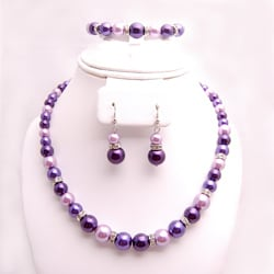 Glass and Crystal Purple, Lavender and White Jewelry Set 7189772