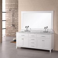 Design Element London Double Sink White Bathroom Vanity 7198478
