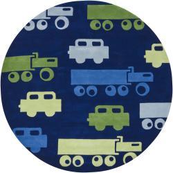 "Hand-Tufted Mandara Kids Blue New Zealand Wool Rug (7'9"" Round)"