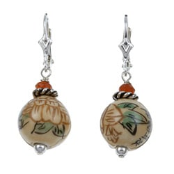 Charming Life Sterling Silver Asian Ceramic Bead Earrings