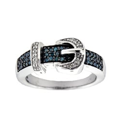 Silver 1/4ct TDW Blue and White Diamond Buckle Ring (H-I, I2-I3)