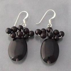 Sterling Silver Black Agate Beaded Earrings (Thailand)