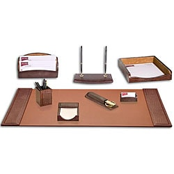 Dacasso Crocodile-embossed Leather 8-piece Desk Set 7214423