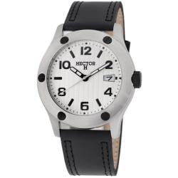 Hector H France Men's 'Fashion' White-Dial Quartz Watch with Leather Strap