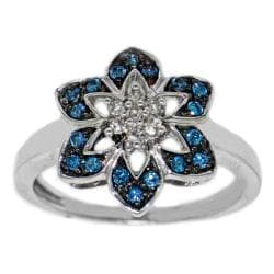 Sterling Silver 1/4ct TDW Blue and White Diamond Flower Ring (H-I, I2-I3)