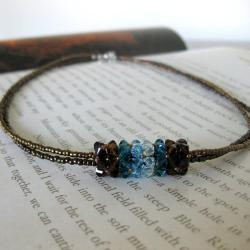 Stainless Steel Blue Crystal Pendant Necklace