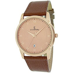 Le Chateau Men's 'Classica' Roman Numeral Watch with Brown Strap