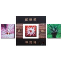Hand-painted 'Flower Frame' Canvas Art