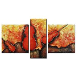 Hand-painted 'Classic Rock' Canvas Art