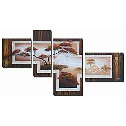 'Safari Steps Hand Painted' 4-piece Art Set