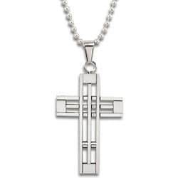 Stainless Steel Polished Cut-out Cross Necklace