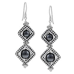 MSDjCASANOVA Pewter Diamond-shaped Frame and Crystal Pearl Earrings