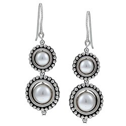 MSDjCASANOVA Pewter Circle Frame and White Crystal Pearl Earrings