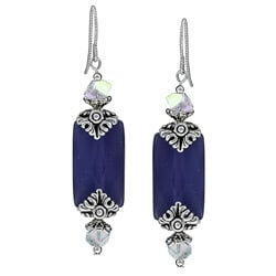 MSDjCASANOVA Pewter Faceted Purple Fiber Optic and Swarovski Crystal Earrings