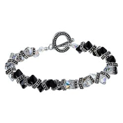 MSDjCASANOVA Zigzag AB Clear and Black Swarovski Crystal Bracelet