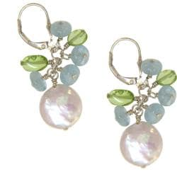 Misha Curtis Sterling Silver Aquamarine, Pearl and Peridot Earrings