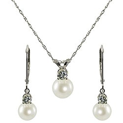 Pearls For You FW Pearl and Aquamarine March Birthstone Jewelry Set