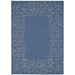 "Safavieh Indoor/Outdoor Blue/Ivory Bordered Rug (5'3"" x 7'7"")"