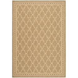 Safavieh Indoor/ Outdoor Dark Beige/ Beige Rug (5'3 x 7'7)