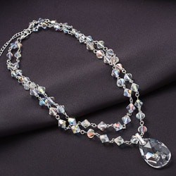 Crystale Silvertone Crystal Two-row Drop Necklace