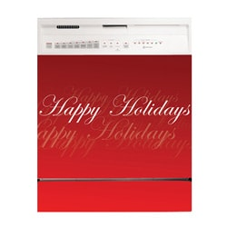 Appliance Art Happy Holiday Script Dishwasher Cover