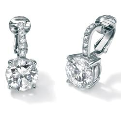 PalmBeach CZ Platinum over Sterling Silver Cubic Zirconia Clip-on Earrings Classic CZ