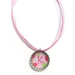 Monogram Pink Polka Dot Bottle Cap Necklace