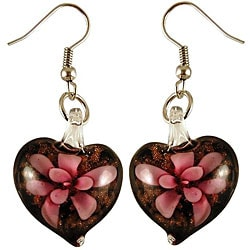 Murano Inspired Glass Black and Pink Flower Heart Earrings 7281644