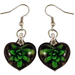 Murano Inspired Glass Black and Green Flower Heart Earrings 7281645