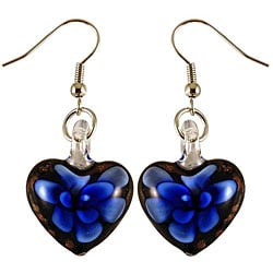 Murano Inspired Glass Black and Blue Flower Heart Earrings 7281646