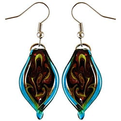 Murano Inspired Glass Aqua Blue Twisted Leaf Earrings