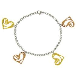Stainless Steel Two-tone Heart Charm Bracelet