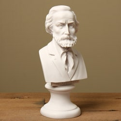 White Bonded-marble Artisan-crafted Nine-inch Giuseppe Verdi Bust