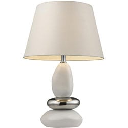 Indoor 1-light Pure White and Chrome Table Lamp