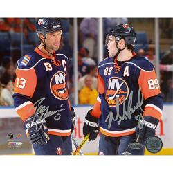Steiner Sports Mike Comrie Talking to Bill Guerin Dual Signed Photograph