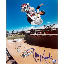 Tony Hawk Half Pipe Action in Blue 16x20 Autographed Photo
