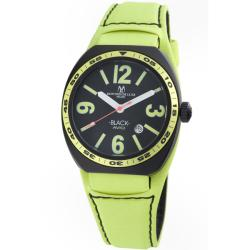 Montres De Luxe Men's 'Black Avio Summer' Lime Green Only Time Watch