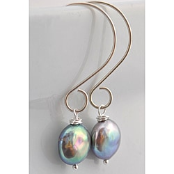 Sterling Silver Grey Freshwater Pearl Dangle Earrings