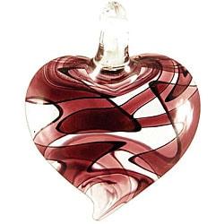 Murano Inspired Glass Amethyst Purple Swirl Heart Pendant 7296055
