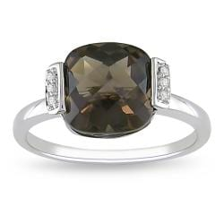 Miadora 10k White Gold Smoky Quartz and Diamond Fashion Ring
