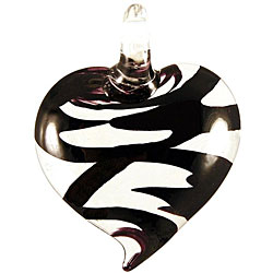 Murano Inspired Glass Black Swirl Heart Pendant