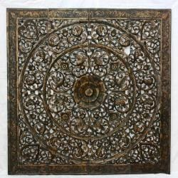 Recycled Teak Wood Black Stain Natural Wax Lotus Panel (Thailand)