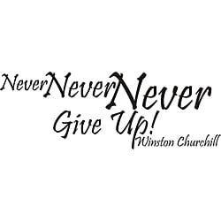 Design on Style 'Never Never Never Give Up Winston Churchill' Vinyl Wall Art Quote