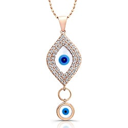 Victoria Kay 14k Rose Gold 1/3ct TDW Diamond Evil Eye Necklace 10933897