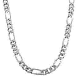 Fremada 14k White Gold 5mm Classic Figaro Link Necklace (18-inch)