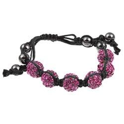Celeste Gunmetal Fuchsia Crystal Beaded Black Cord Macrame Bracelet