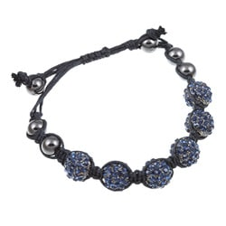 Celeste Montana Blue Crystal Beaded Black Cord Macrame Bracelet