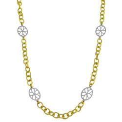 Fremada 14k Two-tone Gold Gardenia Station 18-inch Necklace