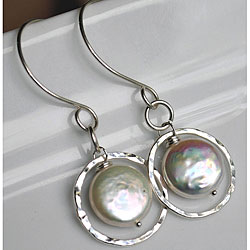 Silver and White Pearl Circle Dangle Earrings